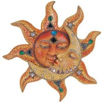 StealStreet Polyresin Orange Mosaic Face Sun with Yellow Mosaic Moon, 13""