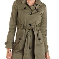 Belted Twill Trench Coat by Charlotte Russe