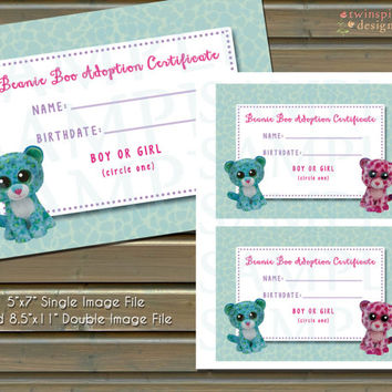 Beanie Boo Adoption Certificate INSTANT DOWNLOAD - Boys or Girls - 4 Files Included!