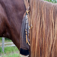 Arrowhead Equine Mane, Tail or Hair Ornament - Beaded feather horse jewelry - American Indian Style Horse Costume