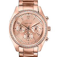 Caravelle by Bulova Women's Chronograph Rose Gold-Tone Stainless Steel Bracelet Watch 36mm 44L117