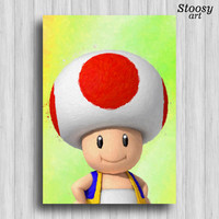 super mario toad print nintendo gifts mario room decor