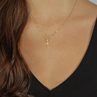 Gold Cross Necklace Gold Chain Necklaces for Women Gold Chains Women Fashion Jewelry
