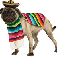 Mexican Poncho And Sombrero Pet Costume