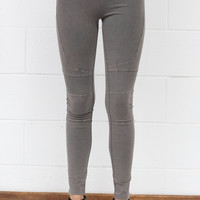 Mineral Washed Moto Leggings {Grey}