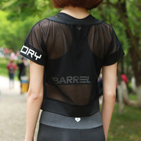 Summer Women See-Through Mesh Short Sleeve Sport Suit Fitness Professional Sportswear Stretch Exercise Yoga  Alphabets Words _ 6795