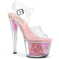 "Sky 309cf Pink Iridescent Glitter 7"" High Heel Sandals"