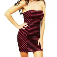 Sparkly Glitter Striped Strapless Dress in Magenta & Black
