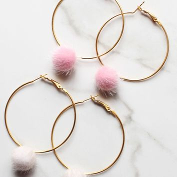 Gold Faux Fur Hoop Pom Pom Earrings