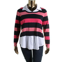 INC Womens Plus Knit Striped Pullover Top