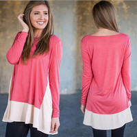 Long Sleeve Round-neck Plus Size Tops T-shirts [7322495553]