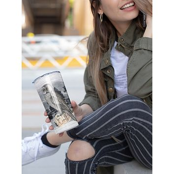 Cinerous Owl Tumbler With Stainless Steel Straw Skinny Tumbler Gorgeous Illustrated Owl Gift Idea Travel Mug Cold Hot Vacuum Lid