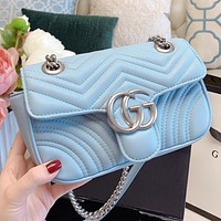 GUCCI New fashion solid color leather chain shoulder bag crossbody bag Blue