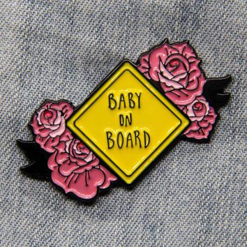 """Baby on Board"" Pink Roses Enamel Pin"