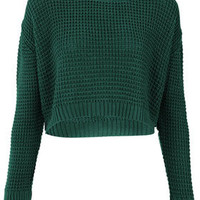 Knitted Textured Stitch Crop Jumper - Knitwear  - Clothing