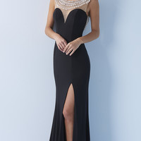 Black Illusion Sweetheart Long Backless Dress