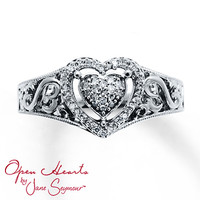 Open Heart Ring 1/8 ct tw Diamonds Sterling Silver