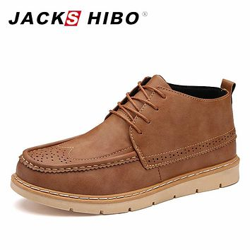 JACKSHIBO 2017 Brand New Winter Man Boots Fashion Snow Shoes Anti-skid Insole Men Casual Shoes Brogue Ankle Boots Shoes
