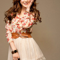 White Red Flower Chiffon Dress with Belt, One Size (Best Fit Small) XS Possible