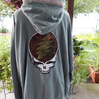 Mens Upcycled Zip Up Sage Green Grateful Dead SYF OOAK Size 2XL Large Hippie clothes, hoodie, recycled hoodie, zip up hoodie, guys hoodie