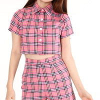 Glitters For Dinner — Made To Order - Katie Tartan Top & Shorts Set in Pink
