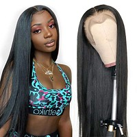 Brazilian HD Transparent Straight Lace Front Wig-24 inch 150% Density