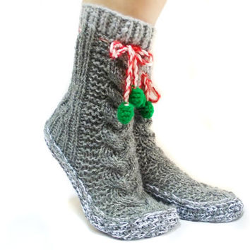 ON SALE \\ Free Shipping, Grey Cable Knit Socks, House booties, Christmas Gift Socks, Long Pompom Cute Slippers,