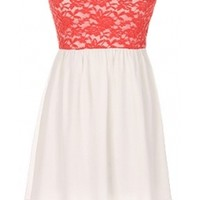 The Strapless Lace Coral Dress