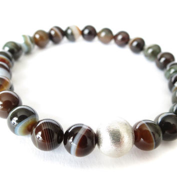 Solid fine brushed silver with Madagascar striped agate stretch bracelet, Christmas gift idea for mom,