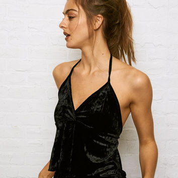 Don't Ask Why Crushed Velvet Flounce Cami, Black