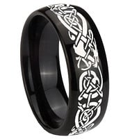 10mm Celtic Knot Dragon Dome Black Tungsten Carbide Men's Band Ring