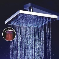 Lightinthebox® 8 Inch Single Functional Temperature Sensitive Rainfall LED Shower Head Chrome Bathroom Bath Fixed Shower Head Square Shower Set