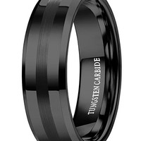 8mm Black Tungsten Carbide Rings Black Wedding Band Engagement Promise