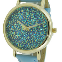 Inlaid CZ Stone Leather Watch 40mm - Light Blue