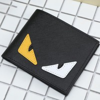 FENDI Fashion Women Men Big Eyes Little Devil Wallet Black/white-yellow eyes