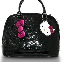 Loungefly Hello Kitty Black Shiny Patent Embossed Tote Bag