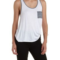 Racerback Striped Pocket Tank Top by Charlotte Russe