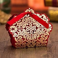 Sorive® 50x Red Laser Cut Wedding Favor Boxes Wedding Candy Box Casamento Wedding Favors And Gifts event party supplies