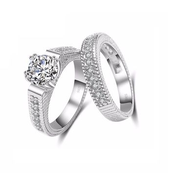 French Foiled Pavé 1CT CZ Solitaire Wedding Band Set