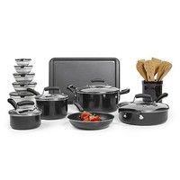 25 Piece Nonstick Cookware Pots and Pans Set w Dutch Oven, Storage Containers n Kitchen Wooden Gadgets