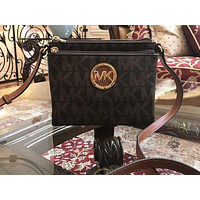 NWT,AUTHENTI MICHAEL KORS MK FULTON LARGE SIGNATURE PVC CROSSBODY/MESSENGER BAG