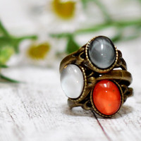 Colorful Thin Stacking Rings Set Of Three Antique Brass Cabochon Rings