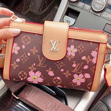 Bunchsun LV New Fashion Monogram Floral Print Leather Shopping Leisure Shoulder Bag Crossbody Bag Coffee