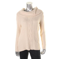 Jeanne Pierre Womens Cable Knit Long Sleeves Pullover Sweater