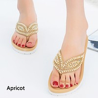 Popular selling beach slippers women's pearl leaf flip-flops casual anti-slip flat flip-flops