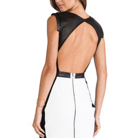 LaPina by David Helwani Dominique Dress in White & Black Leather