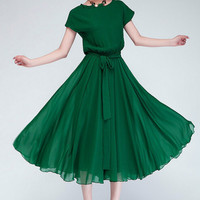 new Korean Style Women Pleated Maxi Chic Prom casual Dress Chiffon Women Clothing Vintage Long Summer Casual Dress P1693