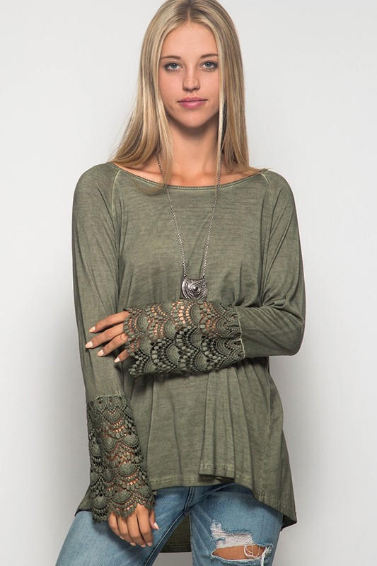 Image of Long Lace Bell Sleeve Acid Washed Top - Olive