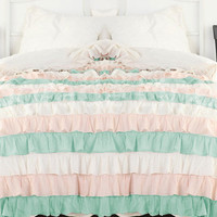 Egyptian Cotton Aqua Pink and White Ruffle Style by softlinens