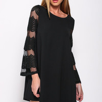 Black Flared Sleeves Double Layered Shift Dress